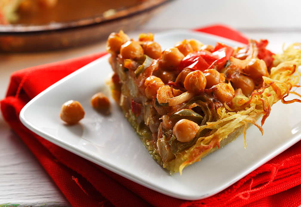 Spiced Garbanzo Bean Pie with Potato Crust