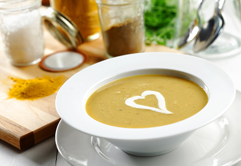 Yellow Split Pea Soup with Chile Spiked Onion and Crème Fraiche