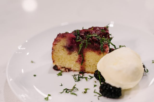 Steamed Summer Berry & Canola Pudding with Mint & Vanilla Ice Cream