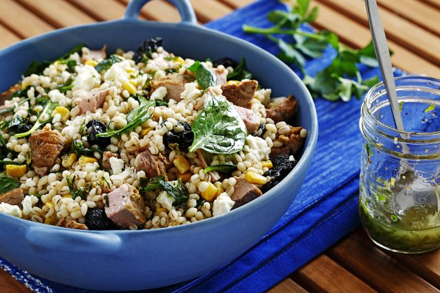 Barley Salad with Dried Cherries, Feta, Grilled Pork & Sautéed Spinach