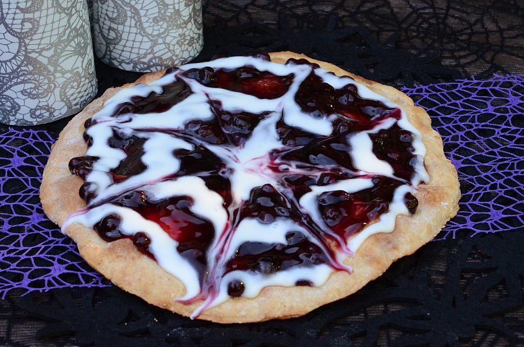Halloween Booberry Spider Web Dessert Pizza