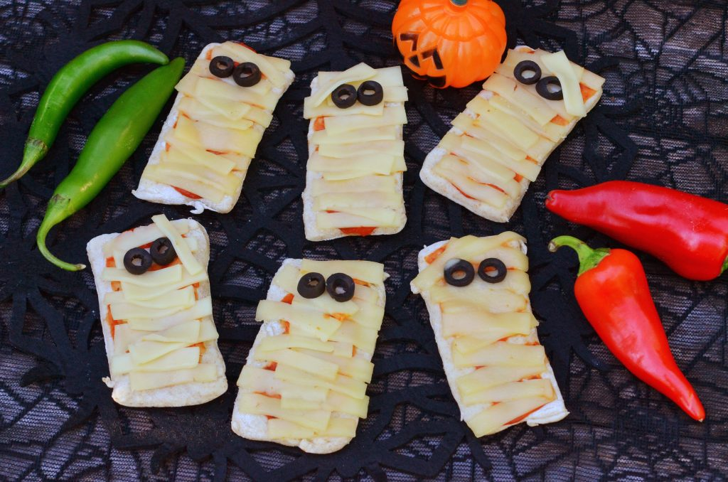 Halloween Mozzarella Mummy Pizzas