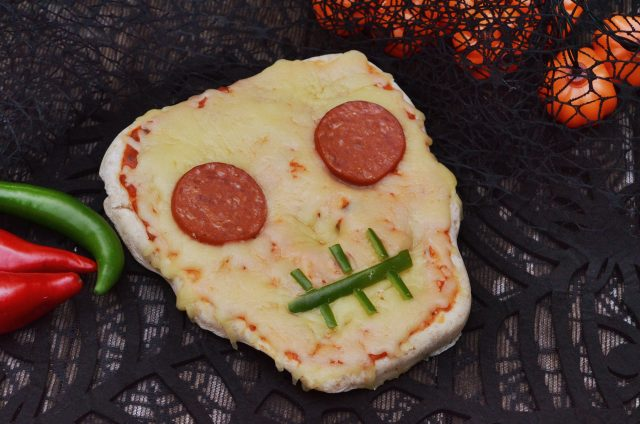 Halloween Skeleton Pizza
