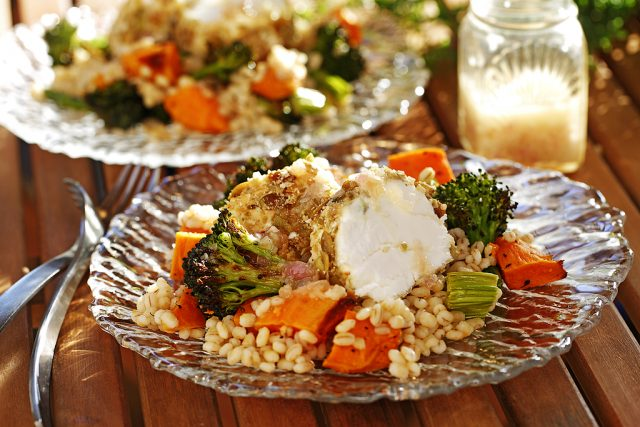 Fall Barley Salad with Roasted Sweet Potatoes, Broccoli & Warm Pepita Crusted Goat Cheese
