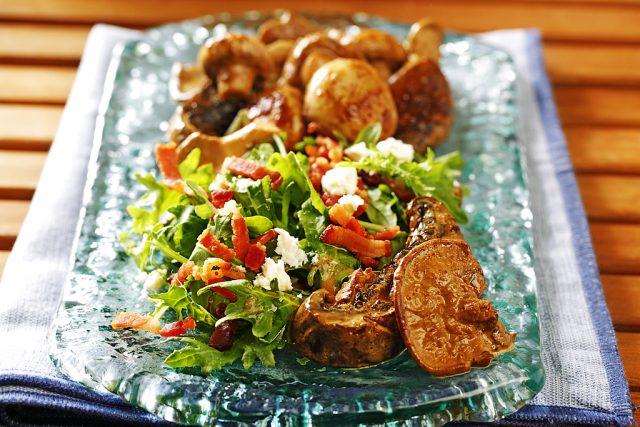 Grilled Mushroom Medley Salad with Baby Kale, Bacon & Feta