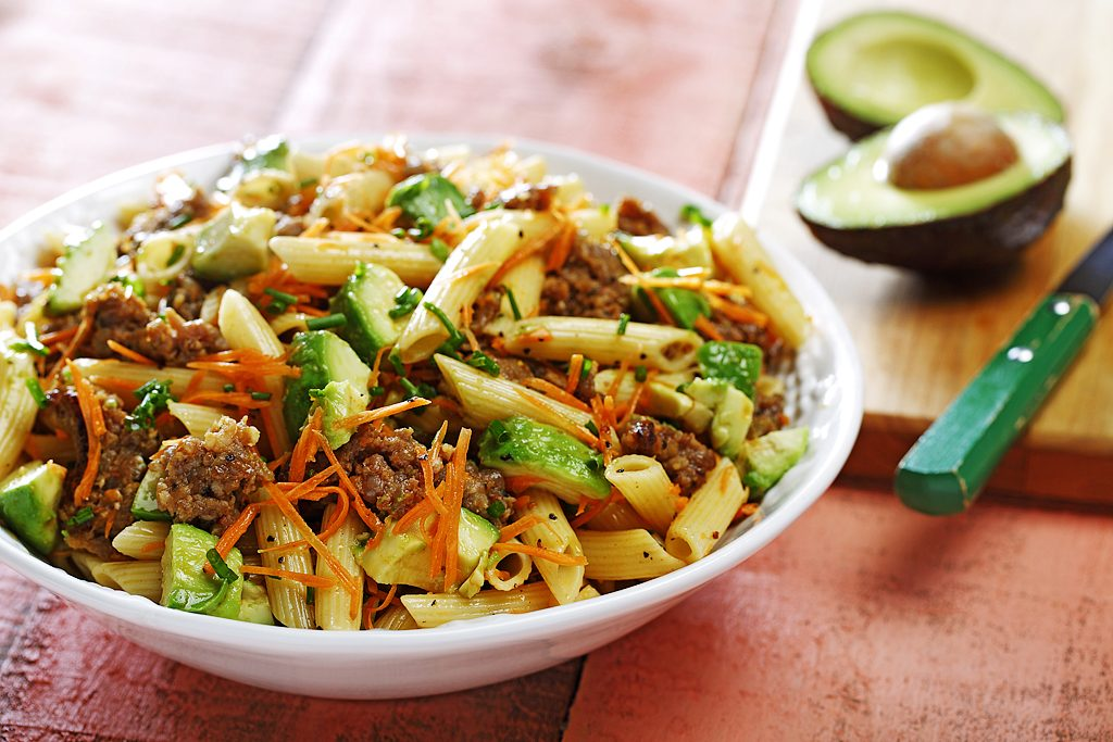 Italian Sausage, Avocado & Penne Pasta Salad in a Lime & Thyme Dressing