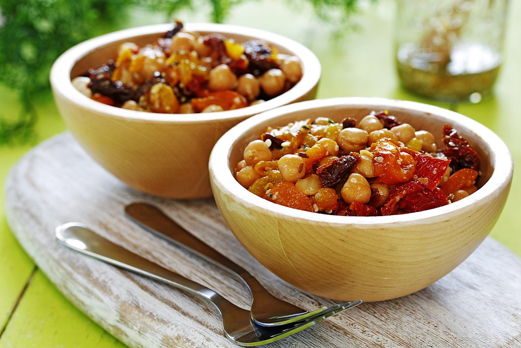 Roasted Sweet Pepper Salad with Toasted Cumin, Hemp Seeds, Chickpeas & Sundried Tomatoes