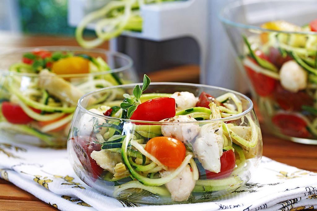 Sautéed Spiralized Zucchini Salad with Marinated Baby Bocconcini
