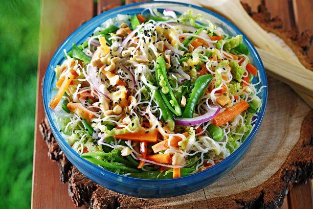 Thai Rice Noodle Salad with Grilled Mango, Honey, Cilantro & Sriracha Dressing
