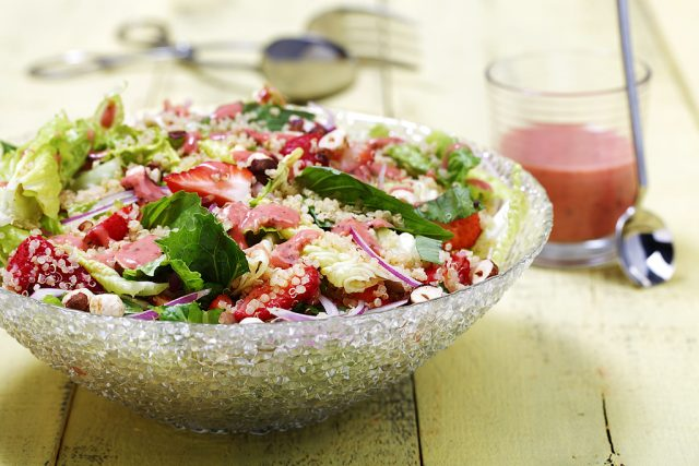 Romaine & Quinoa Salad with Roasted Strawberry & Lime Dressing Salad ...
