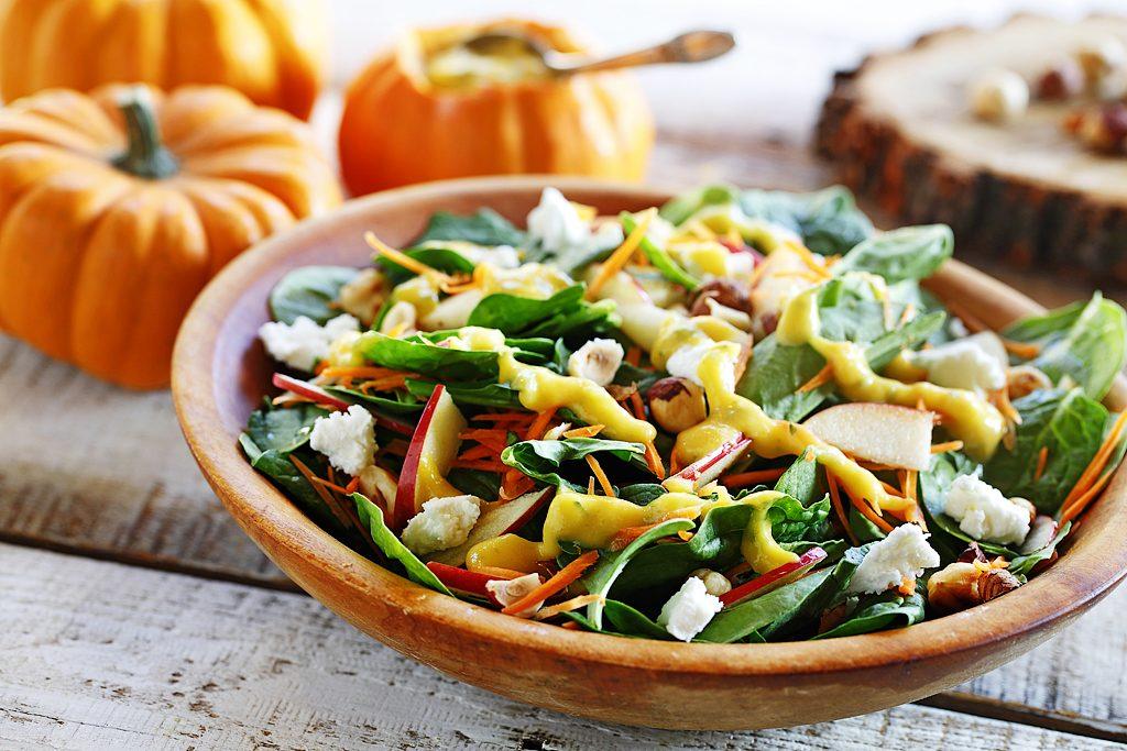 Harvest Salad with Grilled Pumpkin Dressing & Toasted Hazelnuts