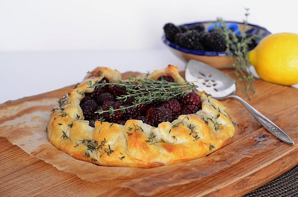 Honey Cream Cheese Blackberry Thyme Galette | www.canolaeatwell.com