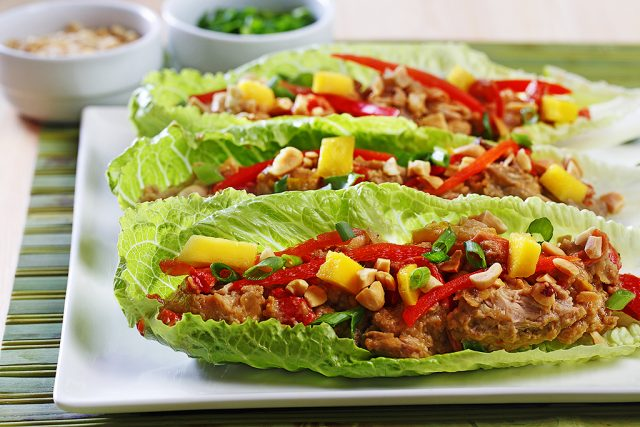 Slow Cooker Thai Peanut Chicken Lettuce Wraps