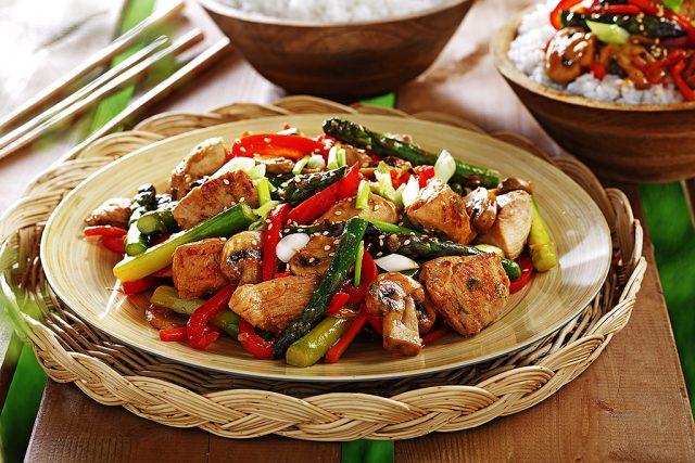 Asparagus & Chicken Stir-fry with Orange-Ginger Sauce