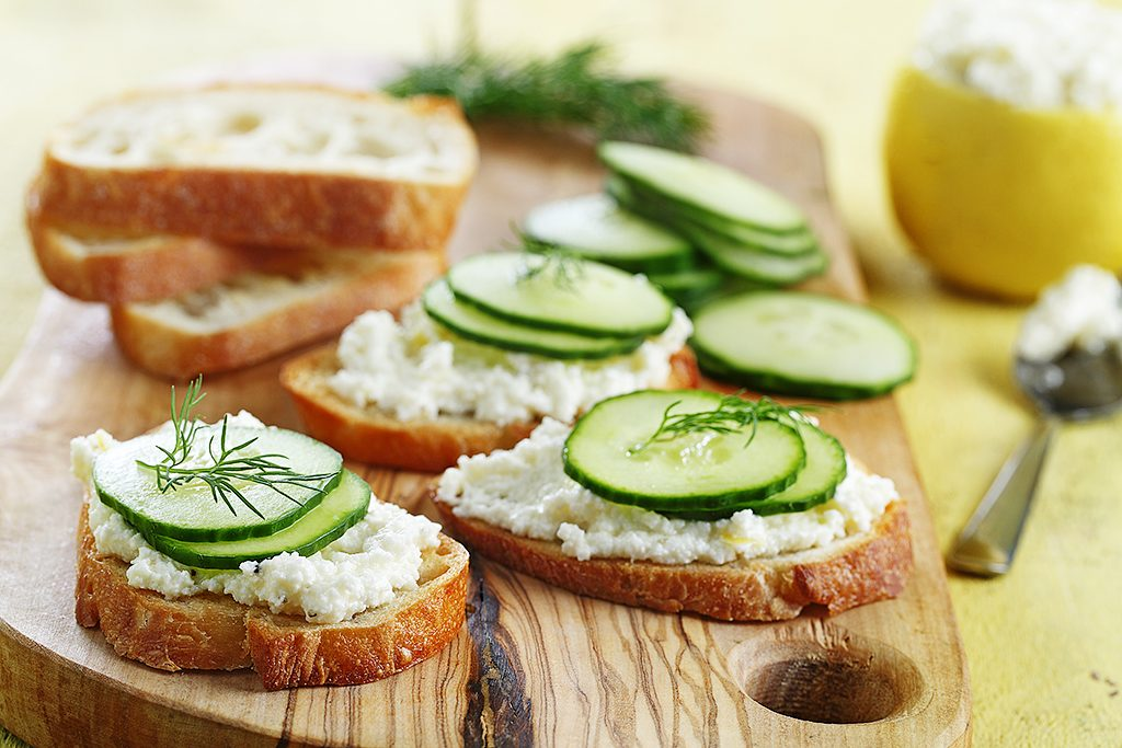 Cucumber and Feta Cheese Toasts