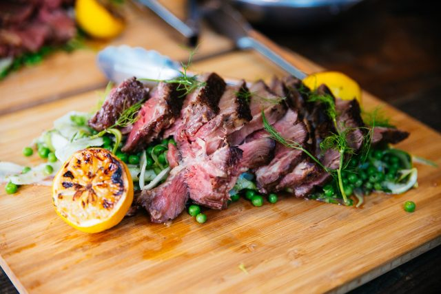 Bison Ribeye Steak with Mint & Pea Salad