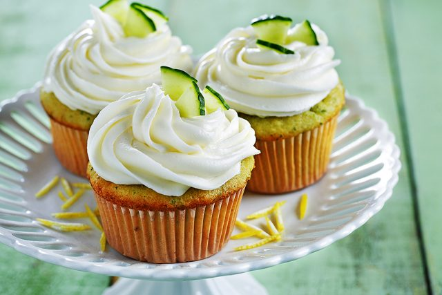 Cucumber Lemon Cupcakes with Lemon Cream Cheese Icing