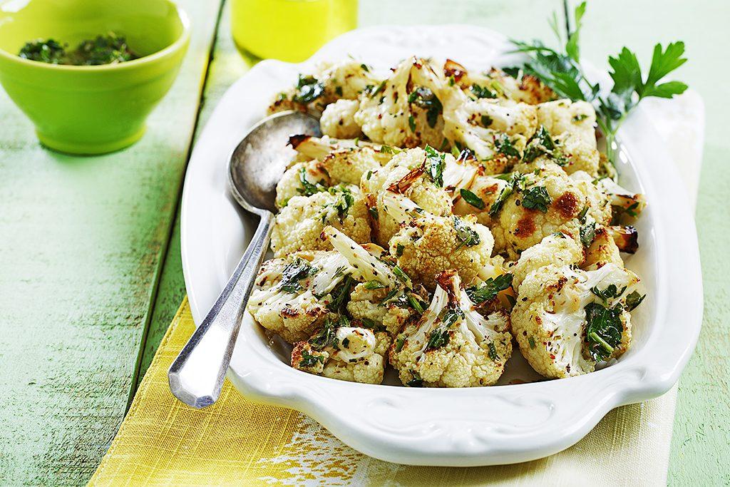 Roasted Cauliflower with Sumac Lemon Dressing