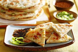 Green Onion Pancakes with Dipping Sauce