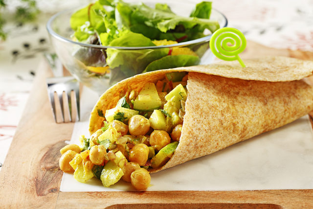 Curried Chickpea and Apple Salad Wraps