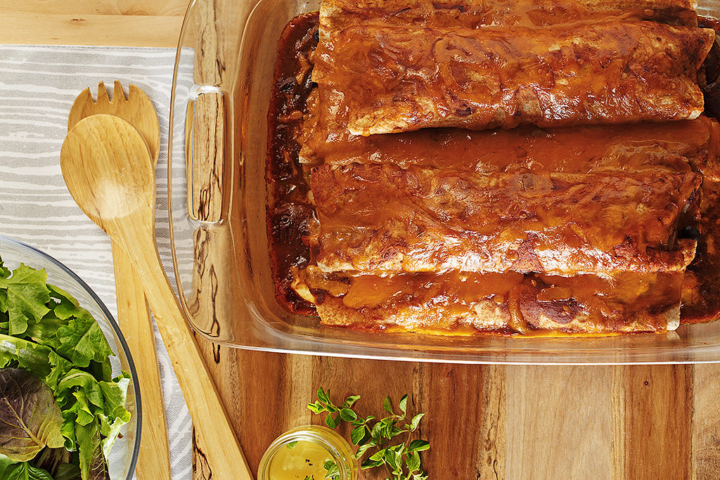 Spicy Chicken and Black Bean Enchiladas