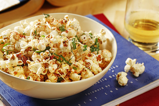 Bruschetta Popcorn with Sun-Dried Tomatoes