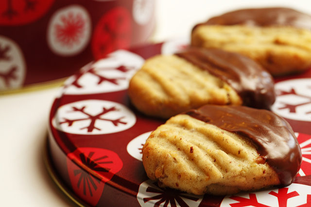 Chocolate-Dipped Orange Cardamom Pecan Cookies