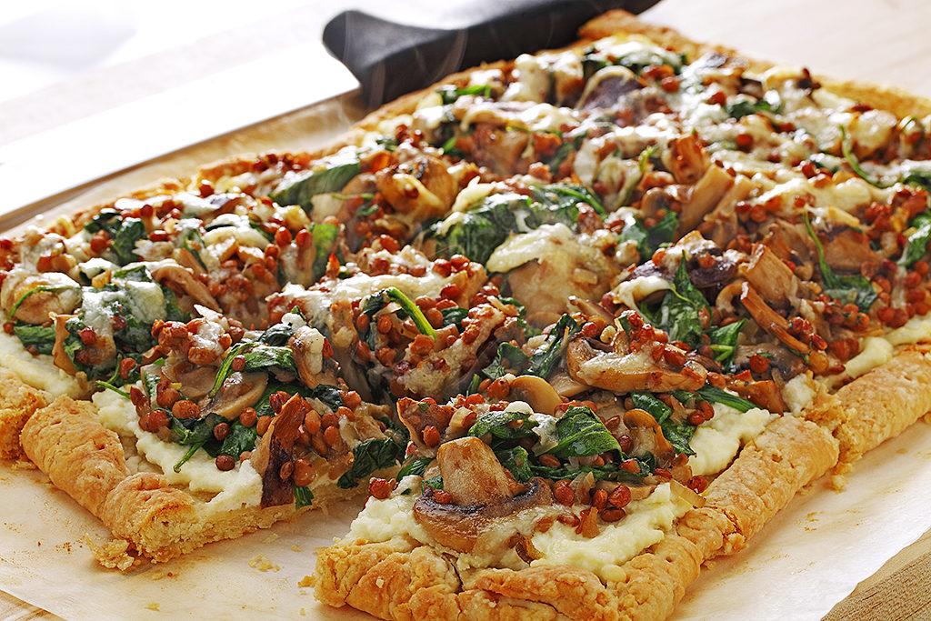 Mushroom Lentil and Spinach Tart