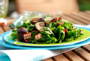 Wilted Rainbow Chard with Seared Eggplant and Parsley Vinaigrette