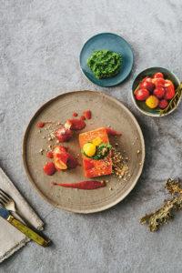 Wild Salmon with Heirloom Tomato Jam and Kale-Cashew Pesto