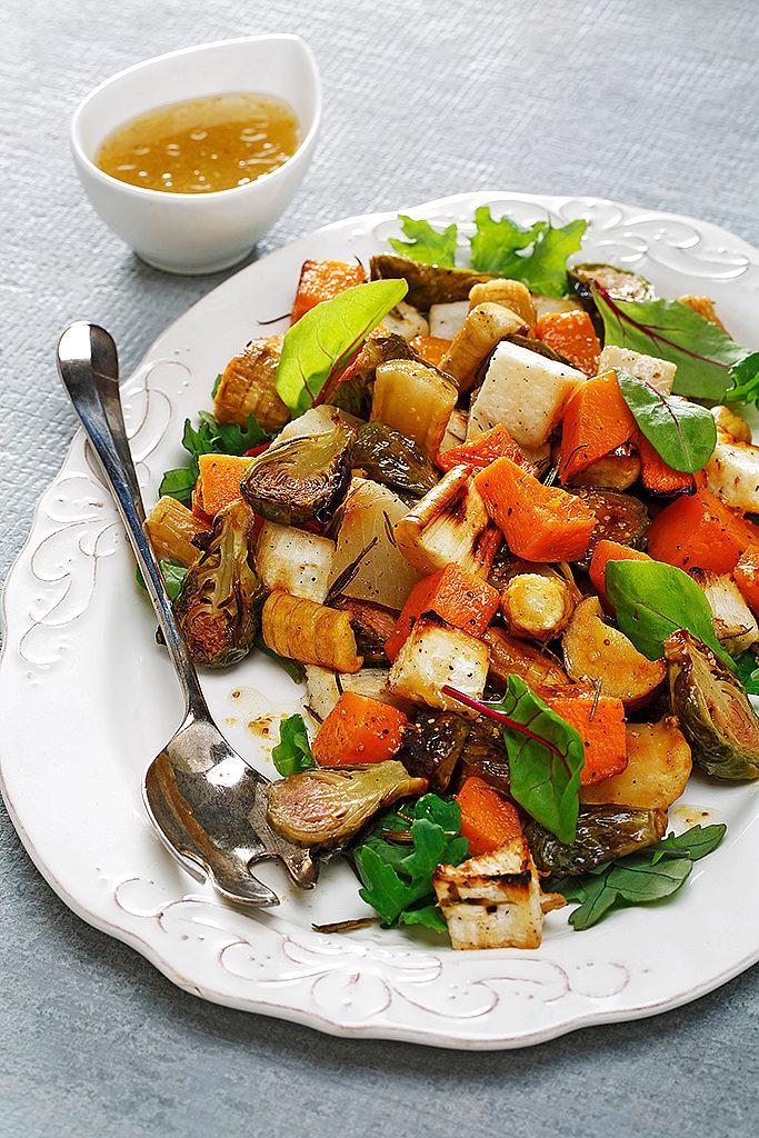 Roasted Root Vegetable Salad with Maple Dijon Vinaigrette