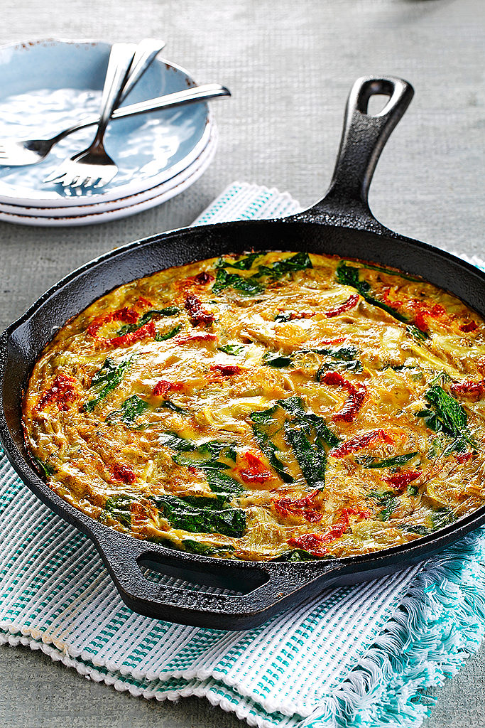 Spinach, Artichoke and Sun-Dried Tomato Family-Sized Frittata