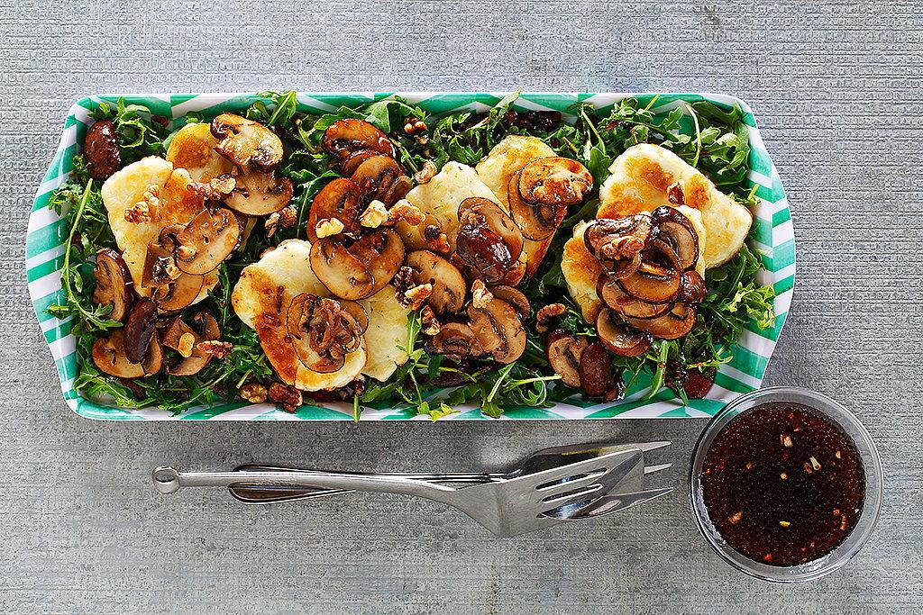 Warm Mushroom and Seared Halloumi Cheese Salad