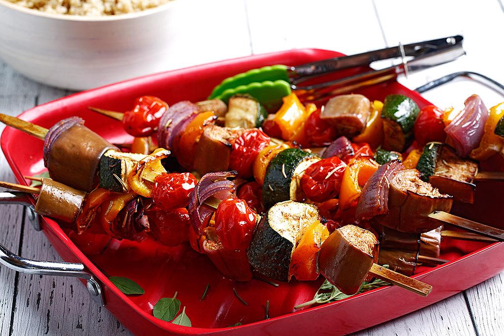 Rainbow Veggie Kebabs with Mediterranean-Style Marinade