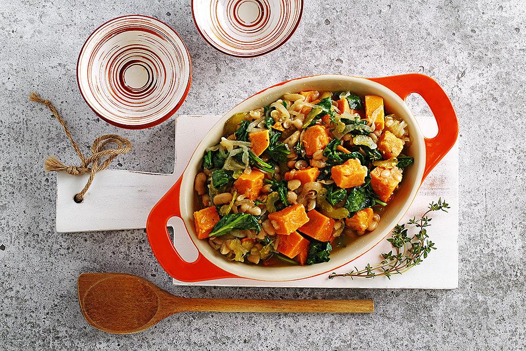 Bean Sweet Potato and Garlic Stew