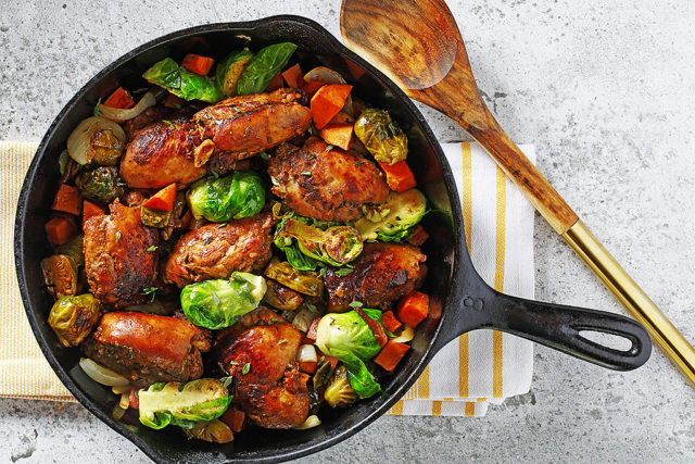 Balsamic Maple Chicken Skillet with Sweet Potatoes and Brussels Sprouts