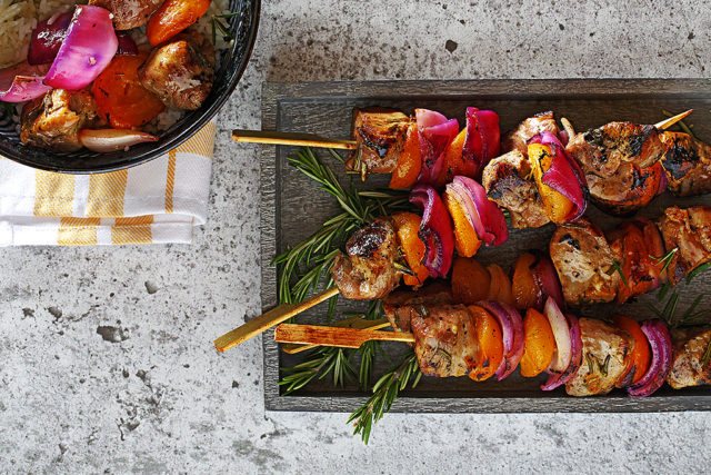 Grilled Pork Tenderloin and Apricot Skewers