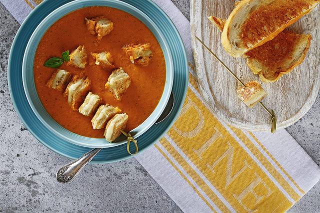 Roasted Tomato Bisque with Grilled Cheese Skewers