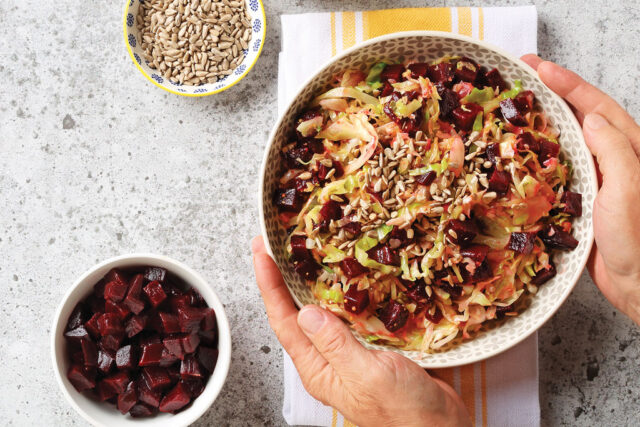 Warm Cabbage Salad with Orange Dressing