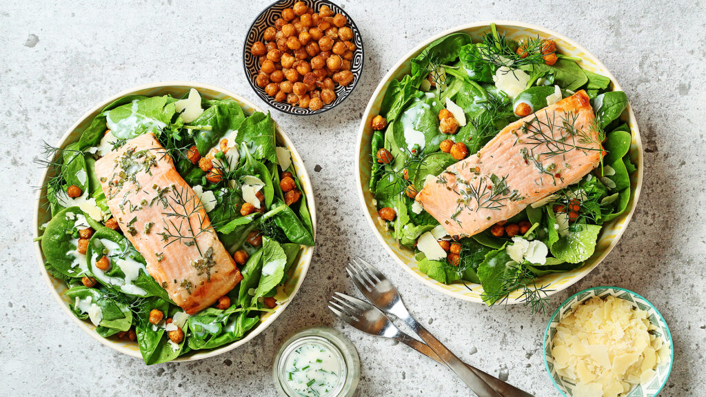Kale Chickpea Salad with Trout