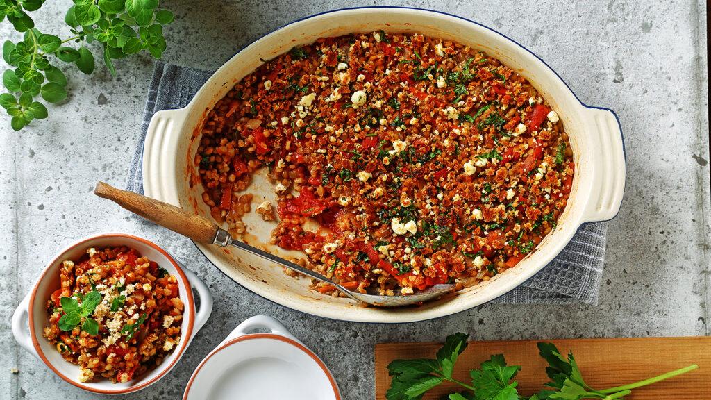 Lentil and Barley Oven Baked Casserole