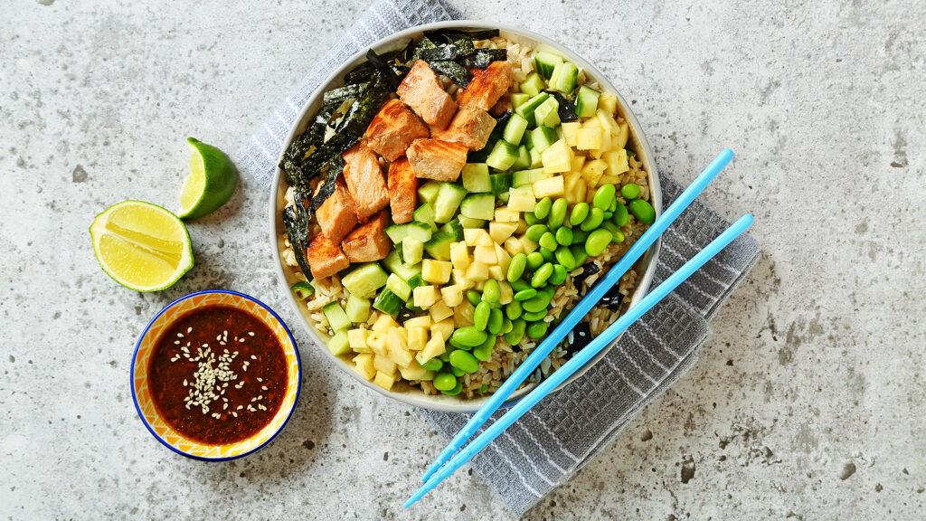 Skillet Salmon Poke Style Salad