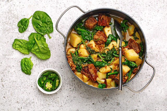Spiced Beef with Spinach and Potatoes