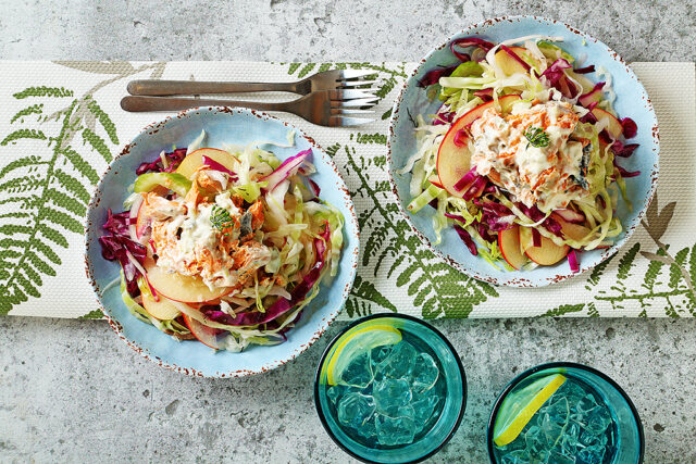 Apple and Cabbage Slaw with Salmon Salad