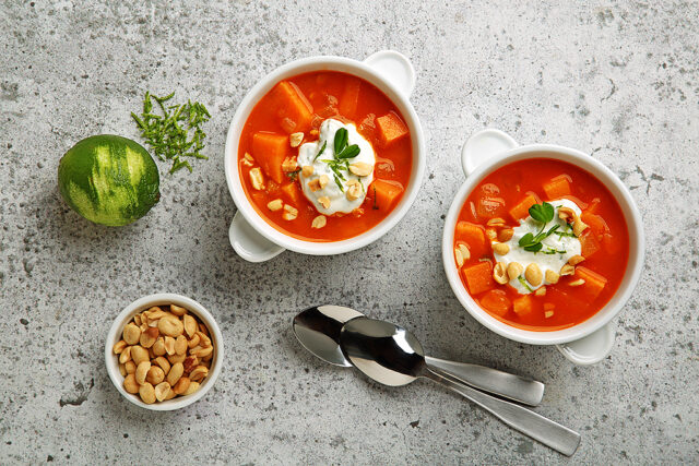 Chunky Sweet Potato and Peanut Soup